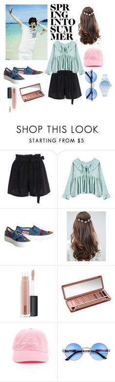 """""""Jimin Girlfriends."""" by dotslava29 ❤ liked on Polyvore featuring Alice + Olivia, ASOS, MAC Cosmetics, Urban Decay and Lacoste"""