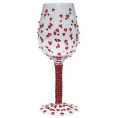 Lolita Wine Glass - Red Hot Design with Hearts and Diamante Details