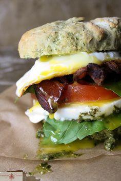 Caprese, Bacon and Egg Breakfast Sandwich