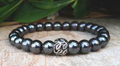 Hematite Mens Bracelet, Sterling Silver Leaf Charm, Nature Inspired Bracelet, Earthy Bracelet, Men's Bracelet, Men Jewelry, Christmas Gifts by Braceletshomme