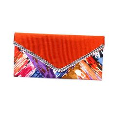 Fine Multicolour Cotton With Silver Metal Border Women Hand Made Clutch Sale  #ArishaKreationCo