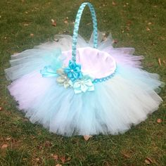 Easter Basket with Bluish Tutu Ribboned by CristinaandTamara