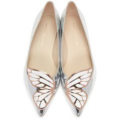 Sophia Webster Silver Patent Bibi Butterfly Flats (17,455 PHP) ❤ liked on Polyvore featuring shoes, flats, sapatos, silver pointed toe flats, silver shoes, patent leather flats, metallic ballet flats and ballet shoes