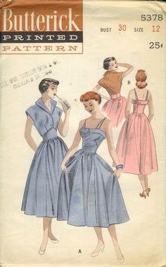 1950s partly cut vintage sewing pattern by 101VintagePatterns