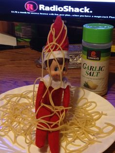 Elf on the Shelf making a mess with the speghetti....