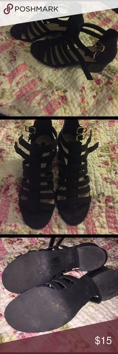 F21 Black chunky heel Caged black chunky heels only used 2x still look new no flaws Forever 21 Shoes Heels