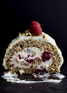 Image of Yotam Ottolenghi's Pistachio Roulade with Raspberries and White Chocolate