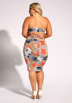 Plus Size Clothing | Plus Size Multi Print Caged Bodycon Dress | Debshops