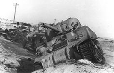 Destroyed Sherman tank during the Suez Crisis Egypt late 1956.