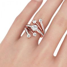 Jeulia Rose Gold-Tone Round Cut Created White Sapphire Engagement Ring - Jeulia Jewelry