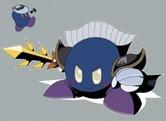 Meta Knight...and color swapped Kirby lol