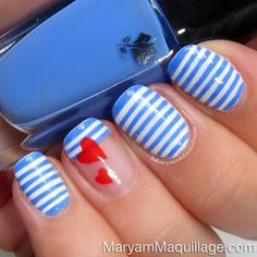 Nail Polish Design blue and white stripes red heart mani manicure Fancy Nails, Love Nails, How To Do Nails, Pretty Nails, My Nails, Matte Nails, Nail Art Stripes, Striped Nails, Blue Stripes