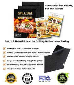 "Amazon.com : Yumms! BBQ Grill Mat Set of 2 15""x13"" : Patio, Lawn & Garden"