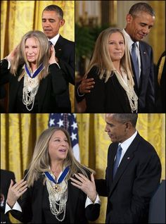President Barack Obama awards the Presidential Medal of Freedom to Singer/Actor Barbra Streisand in the at the White House on November 2015 in Washington, DC. The Presidential Medal of Freedom is the nation's highest civilian honor, presented to individuals who have made meritorious contributions to the security or national interests of the United States, to world peace, or to cultural or other significant public or private endeavors