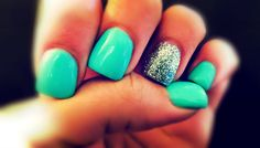 my nails: Tiffany Blue with Silver Glitter <3