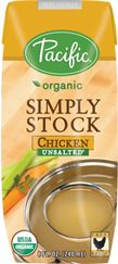 """Our slow simmered, unsalted Simply Stock is made from pure, and simple organic ingredients to create a building block that adds depth and flavor to any recipe. Staying true to classic culinary traditions, our Organic Chicken Stock is made by gently simmering meat, bones, and mirepoix (celery, carrots & onions) for hours to bring out the rich, complex flavors.""  [Recommended by Against All Grain on fb] http://www.againstallgrain.com/2013/11/13/favorite-thanksgiving-products/"