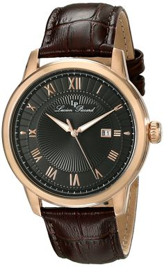 Lucien Piccard Men's LP-12758-RG-01 Solstice Rose Gold Ion-Plated Watch with Brown Leather Band *** Continue to the watch at the image link.