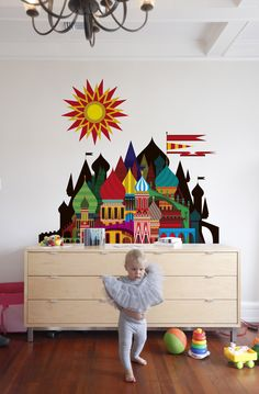 """'Imaginary Castle Small' wall decals (Blik wall graphics) by designer Patrick Hruby. Makes me think of """"It's a Small World."""" Beautifully done! via Supernice"""