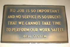 Bell System and General System Safety Creed Phone Companies, Telephone, Hot Rods, Fun Stuff, Verses, Daddy, Safety, Chicago, Bob