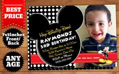 This Instant Downloadable is for a Mickey Mouse Birthday Invitation Template in Photoshop (PSD).  Our templates are designed to to be easy and