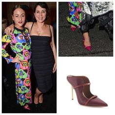 Malone Souliers​' 'Maureen' mules on @myshubox's Instagram.   Spotted! : Malone Souliers' fuchsia nappa, pink karung 'Maureen' mules on Jaime Winstone at the 'Tribute to Christopher Nement' event at the Louis Vuitton store. This stunning style has been remixed for the new season in claret nappa and marsala nappa with a lime nappa heel.    #MaloneSouliers #MyShuBox #JaimeWinstone #PF15 #AW15 #Maureen #mules #luxury