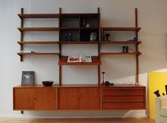 Etagères modulables en teck Poul Cadovius, Danemark, 1955-60. Vevey, Shelf System, Vintage Design, Bookcase, The Unit, Shelves, Flat, Home Decor, Denmark