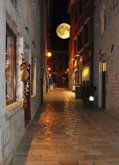 The full moon in Porec, Croatia
