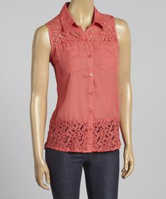 Look what I found on #zulily! Coral Floral Lace Sleeveless Button-Up by Simply Irresistible #zulilyfinds
