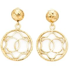 Chanel Vintage Cut-Out Clip-on Earrings ($850) ❤ liked on Polyvore featuring jewelry, earrings, metallic, gold plated earrings, logo earrings, clip on hoop earrings, vintage earrings and hoop earrings