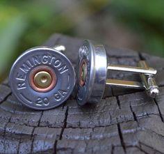 Silver Shotgun Bullet Shell Cufflinks, Remington 20 gauge cufflinks crafted from repurposed shell casings