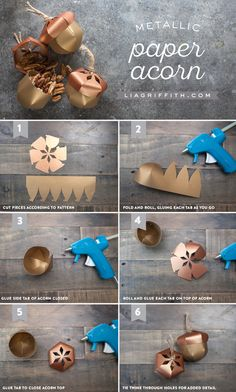 DIY Paper Acorn Favor Tutorial from MichaelsMakers Lia Griffith