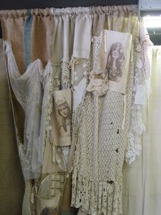Shabby/vintage curtains for the smock room