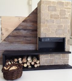 Dollhouse fireplace log cabin: Modern Rustic fireplace stone and slate - made from foamboard (log cabin wood wall still a prototype).