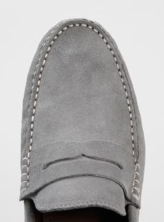 82415a8af18 Hitch Penny Grey Suede Loafers