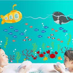 Pas cher Mignon de bande dessinée sous   marin mer Whale bricolage amovible Stickers muraux Nursery enfants chambre décoration murale Decal DF5092, Acheter  Autocollants muraux de qualité directement des fournisseurs de Chine:                      Caractéristiques:                                             100% tout neuf et de haute qualité