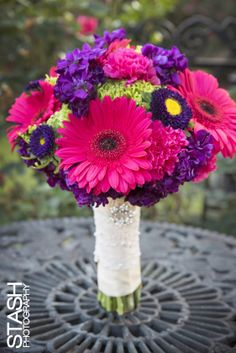 Bright color bouquets gerber daisy bouquets purple hot pink STASH PHOTOGRAPHY