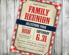 Printable Family Reunion Invitations Backyard BBQ by VGInvites