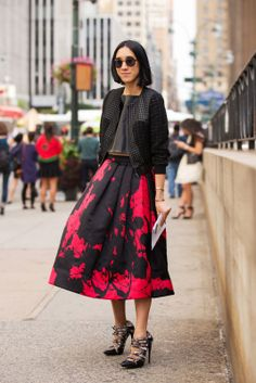 // How Tomboys Wear Full Skirts #refinery29  http://www.refinery29.com/skirt-outfits#slide3  In a pop-art print and with moto-detailed accessories, even a ball skirt can look punk.