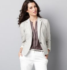 Conquer the weather in style with irresistible LOFT outerwear. Shop our collection of stylish women's jackets, coats, cute jackets, vests & much more today! Pants For Women, Jackets For Women, Clothes For Women, Seersucker Blazer, Cute Jackets, Dobby, White Pants, Grey Top, My Style