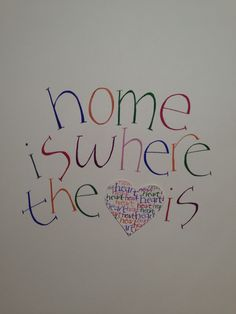 Home is where the heart is quote. My original calligraphy in gouache, please acknowledge this when sharing