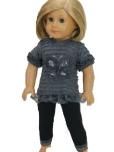 """Studded Butterfly Top & Black Leggings made for 18"""" American Girl Doll Clothes #DorisDollBotuique #DollClothes"""