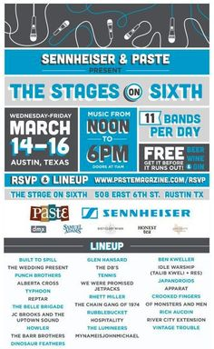 """Sennheiser & Paste Magazine #SXSW Parties!!! I'm beyond stoked to see Glen Hansard (from The Swell Season, The Frames & the film """"ONCE"""") and Ben Kweller \m/"""