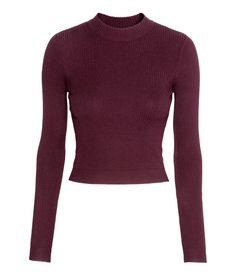 Short Turtleneck Sweater   Burgundy   Ladies   H&M US