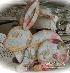 DIY decoupage cardboard Easter Bunny. The template is here for you to print. This is so very pretty! Great pin!