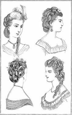 Hairstyles of 1870 - Geri Walton Historical Hairstyles, Edwardian Hairstyles, Old Hairstyles, Modern Hairstyles, Vintage Hairstyles, Long Natural Hair, Natural Hair Styles, Vintage Beauty, Vintage Fashion