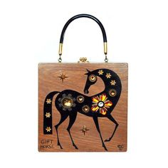 """Enid Collins of Texas 1967 """"GIFT HORSE"""" box bag.  The Proverb """"Don't look a gift horse in the mouth"""" typically means to be grateful when you receive a gift, but originally it referred to the practice of evaluating the age of a (gift) horse by looking at its teeth. #findingENIDwithLOVE #enidcollinsoftexas #enidcollins #1967 #horse #gifthorse #equestrian #vintagebag #vintagepurse #vintagestyle #fashiondesigner #art #anthropology"""