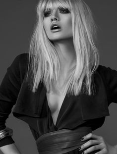Great expression, tighter crop. Studio, modeling, fashion photography, black and white.