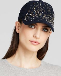 August Accessories Bejeweled Baseball Hat