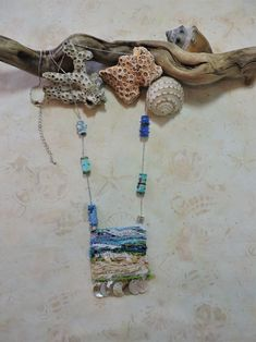 Fiber necklace pendant and fabric beads by Eileen Williams Fiber Art Jewelry, Jewelry Art, Unique Jewelry, Quilted Gifts, Fabric Beads, Etsy Seller, Crochet Necklace, Weaving, Jewels