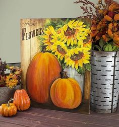Sunflowers and Pumpkins Canvas -- Add autumn flora to your dècor. Pumpkin Canvas Painting, Autumn Painting, Autumn Art, Painting On Wood, Canvas Art, Fall Paintings, Pallet Painting, Canvas Ideas, Tole Painting
